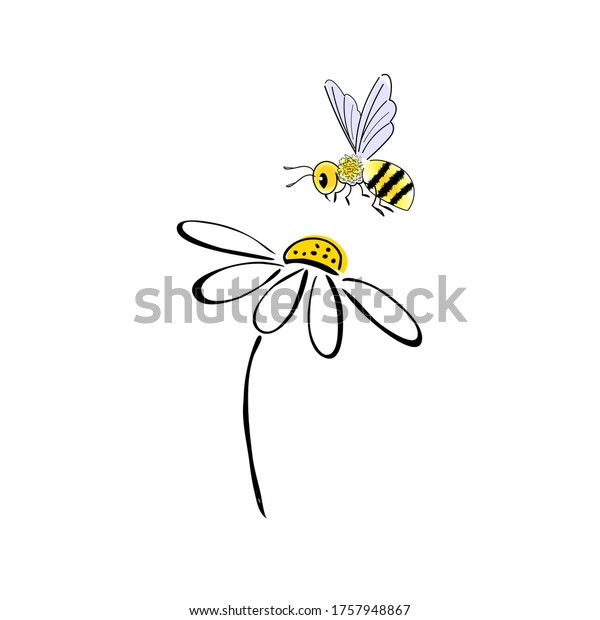 Bee Flower Simple Doodle Style Drawing Stock Vector Royalty Free 1757948867