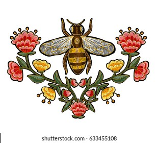 Bee and flowers embroidery. Insect embroidery.
