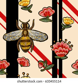 Bee and flowers embroidery pattern. Insect embroidery.
