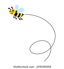 Bee flying around looking for honey and collecting honey in hive vector illustration and icon