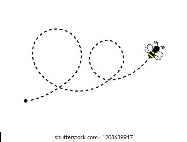 Bee flying on a dotted route