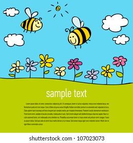 ?Cartoon bee flying over flowers