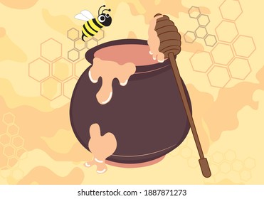 A bee is flying over a honeypot of honey. Next to it is a honey stick leaning against the a pot. The fresh honey drips from the jar and stick. Also there are honeycombs and a Camouflage pattern.