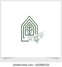 bee and greenhouse icon logo design vector, nature brand logo design template