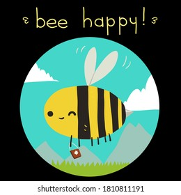 Bee happy black back postcard. The vector greeting card with funny bee mascot icon. For ui, web games, tablets, wallpapers, and patterns.