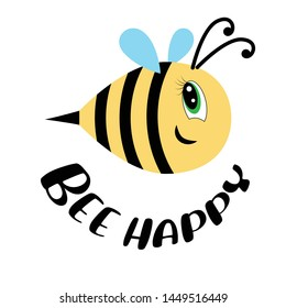 Bee happy. Cartoon Child Picture. Smiling bee.