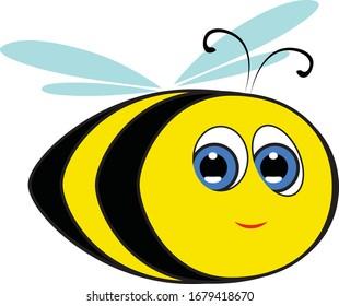 Bee happy. Cartoon Child Picture. Smiling bee.
