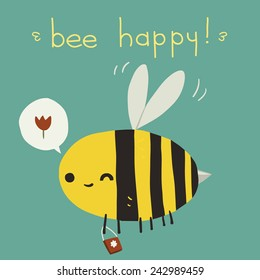 Bee happy postcard icon. The vector greeting card with cartoon funny bee for ui, web games, tablets, wallpapers, and patterns.