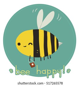 Bee happy postcard. The vector greeting card with funny bee mascot icon. For ui, web games, tablets, wallpapers, and patterns.