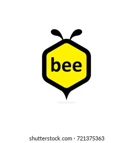 Bee in the hexagon and flat design elements. Design concept icons for application development, web design, creative process, social media, seo, web page coding and programming