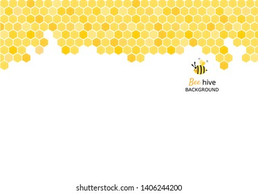 Bee hive, abstract honeycombs with cute bee on white background vector illustration.