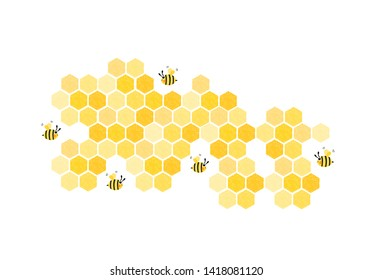 Bee hive, abstract honeycombs isolated on white background vector illustration.