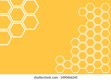 Bee hive, abstract honeycombs with white hexagon on yellow background vector illustration.
