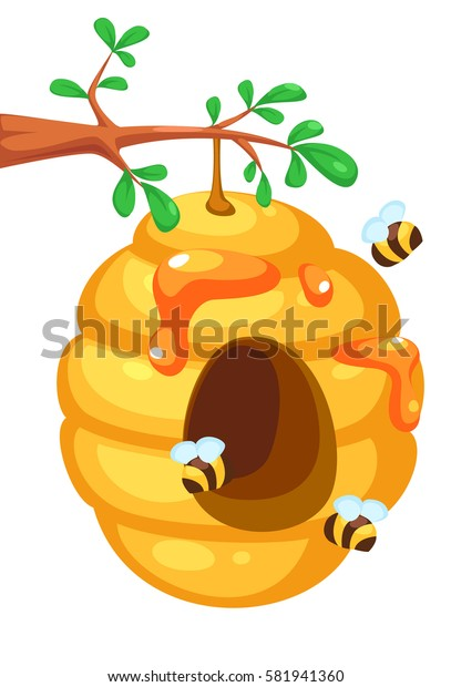 Bee hive on tree cartoon
