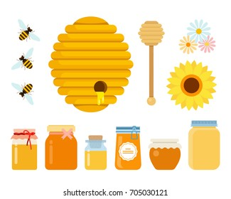 Bee hive, wooden honey spoon, three bees, wildflowers and glass jars with honey of different sizes vector flat material design isolated on white