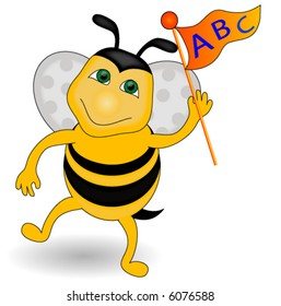Bee holding  flag with 'ABC'. Vector.