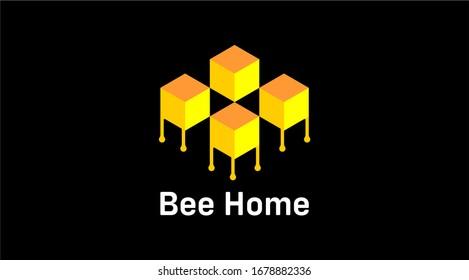 Bee home vector logo. Bee box vector logo