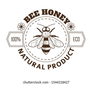 Bee honey, apiary isolated icon, bee and flowers sketch vector. Beekeeping farm products, organic food label, natural nutrition and vitamins. Insect pencil drawing, brand or label, emblem or logo