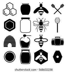 Bee Honey Black Vector Shapes for Labels