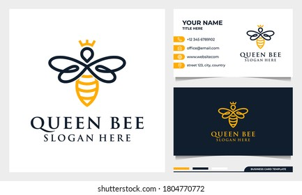 Bee honey creative icon symbol logo, queen bee linear logotype. logo design, icon and business card template