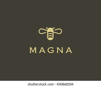Bee honey creative vector icon symbol. Hard work logotype. Hive logo design