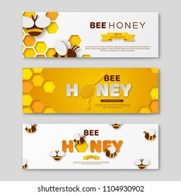 Bee honey horizontal banners with paper cut style letters, comb and bees. Template design for beekeeping and honey product. Vector illustration.