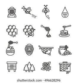 Bee and honey icon set. Thin line vector illustration.