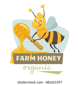 Bee with honey label or badge. Farmer's logo. Natural food, organic product, locally grown.