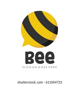 Bee and honey logo full vector for template,icon, and logotype