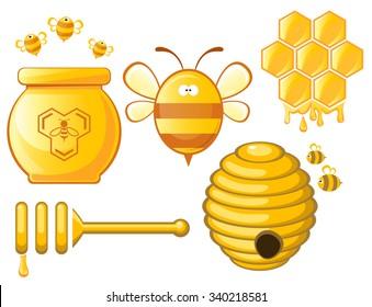 Bee and Honey set. Vector