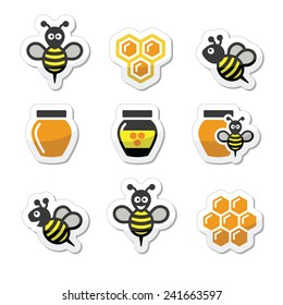Bee and honey vector icons set