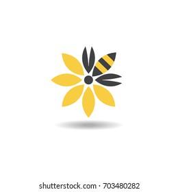 bee honeybee flower logo or icon. vector illustration
