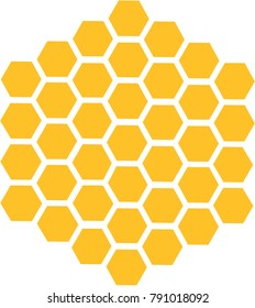 Bee honeycomb with honey in a hexagon