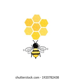 Bee with honeycomb icon on white background vector illustration.