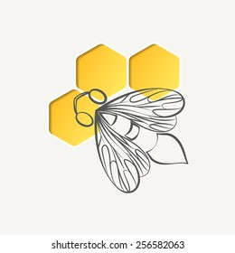 Bee and honeycomb logotype. Colorful, stylized image.