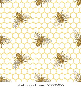 Bee and honeycomb seamless vector pattern. Hand drawn engraving style illustration.