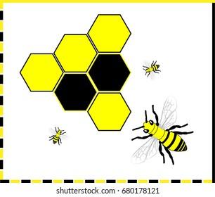 Bee and honeycombs - Illustration Honey Bee, Bee, Animal, Food, Honey