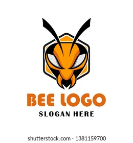 Bee hornet wasp Hexagon  Logo design illustration for game, team, military company and other