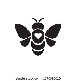 Bee icon. Black Bee with Heart. Vector illustration. Beekeeper Logo.