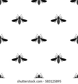 Bee icon in black style isolated on white background. Insects pattern stock vector illustration.