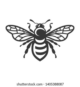 Bee Icon. Bug Logo on White Background. Vector