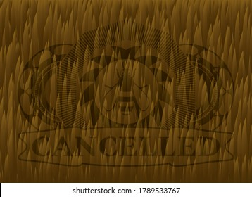 bee icon and Cancelled text Brown fur realistic emblem. Animal chic background. Artistic illustration.
