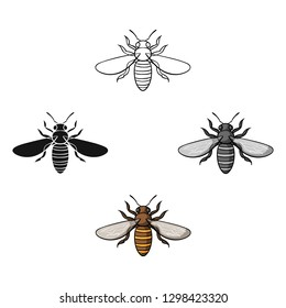 Bee icon in cartoon style isolated on white background. Insects symbol stock vector illustration.