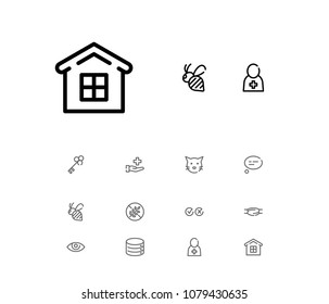 Bee icon with cat, doctor and cross tick symbols. Set of mortgage, eye, medical worker icons and opener concept. Editable vector elements for logo app UI design.