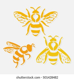 Bee icon. Honey flying bee. Insect. Flat style vector illustration.