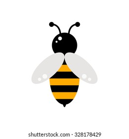 Bee icon isolated on white background. Honey flying bee. Insect. Flat style vector illustration.
