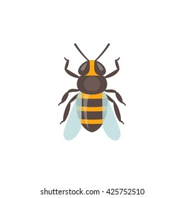 Bee icon. Isolated bee icon on white background. Vector illustration.
