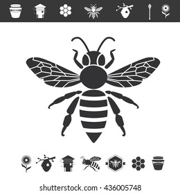 Bee icon isolated on white background. Vector honey bee sign. Bee silhouette isolated. Black and white honey bee logotype with apiculture: bee hive, honey, flower and spoon.