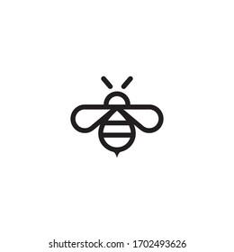 Bee icon line style vector.