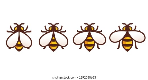 Bee icon with moving wings animation frames. Simple modern honeybee symbol, isolated vector illustration.